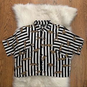 Topshop Striped Tiger Oversized Button Up Shirt 6